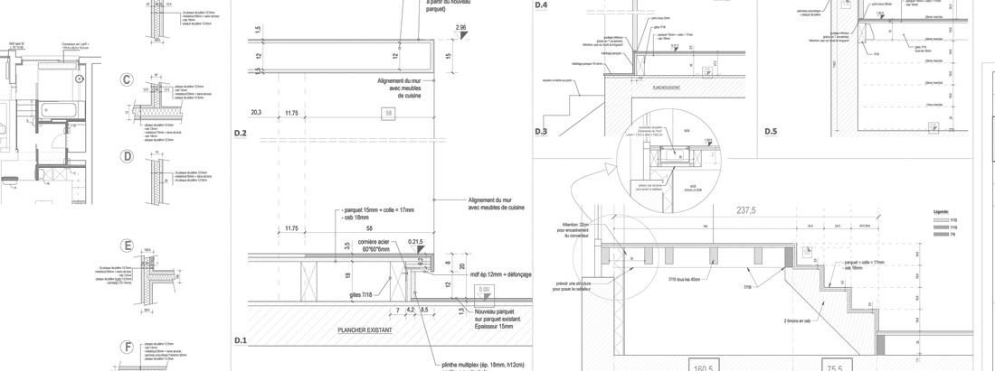 Rénovation d'un appartement à Bruxelles - plans de détails