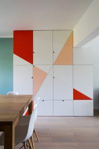 conception mobilier diagonal couleurs